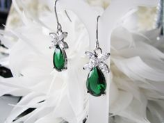 Emerald Green cubic zirconia bridal, wedding gift, bridesmaid, bridesmaid earrings, bridal earrings, bridal jewelry, bridesmaid jewelry by weddingswithflair on Etsy