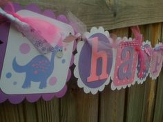 HAPPY BIRTHDAY BANNER In Pink and Purples by BurleyGirlDesigns