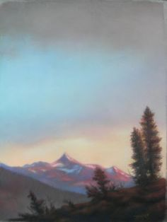 "Mt. Clark From The May Lake Ridge.   Pastel   18"" X 24""   Original Artwork By Travis Wheeler"