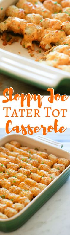 This Sloppy Joe Tater Tot Casserole recipe is the perfect solution for those busy nights you don't have a lot of time to cook. via @simplymommy