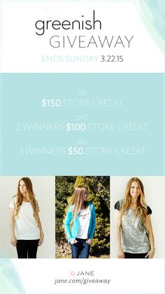 I entered the Jane.com #Giveaway for a chance to win prizes from Greenish Shop! $500 in prizes this week!