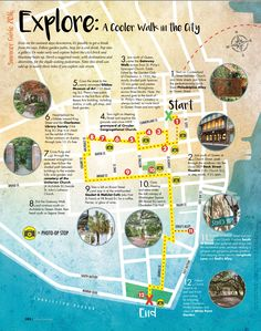A cooler walk in the city map, Charleston, SC