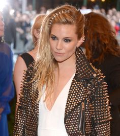 Hair We Love: Sienna Miller's badass tousled hair and studded hair accessories at the Met Gala.    5 ways to add a dash of punk to your beauty look: http://blog.womenshealthmag.com/beauty-style-buzz/met-gala/