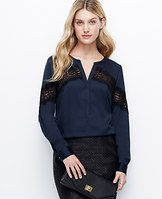 Crepe Placed Lace Blouse - Ace of lace: this uptown button-down gets a downtown edge from perfectly-placed sheer lace. Split neck. Long sleeves with snap closure. Hidden button front. Shirttail hem.