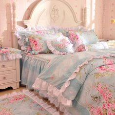 LightBlue-Girls-Lace-Ruffle-Bowtie-Tulle-Duvet-Cover-Bedding