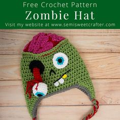 Free Crochet Zombie Hat Pattern - sizes starting from newborn baby Crochet Lego, Crochet Gifts, Crochet Dolls, Crochet Baby, Free Crochet, Learn Crochet, Kids Crochet, Crochet Hats For Boys, Crocheted Hats