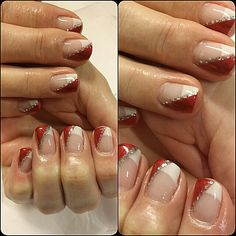 Franch tip, red silver line, nails