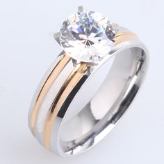 Find More Rings Information about 6mm gold and silver striped zircon 316L Stainless Steel finger rings for men wmen wholesale,High Quality ring with ruby and diamonds,China steel key rings Suppliers, Cheap steel cz ring from Chinese Jewelry Factory,Wholesale From Yiwu China on Aliexpress.com
