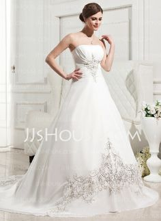 Wedding Dresses - $174.49 - A-Line/Princess Strapless Chapel Train Chiffon Wedding Dress With Embroidery Ruffle (002011763) http://jjshouse.com/A-Line-Princess-Strapless-Chapel-Train-Chiffon-Wedding-Dress-With-Embroidery-Ruffle-002011763-g11763