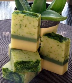"""Creative soap by Steso : МК """"Бордюры"""" Алоэ вера & Базилик"""". Как сделать Красивое и полезное мыло."""