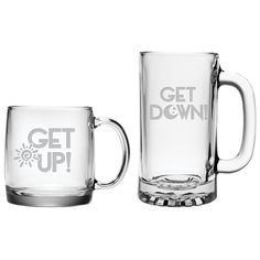 Get Up - Get Down 13 oz Coffee Mug and 16 oz Beer Mug Gift Set - 2 Sandblast Etched Glass Mugs My Coffee, Coffee Mugs, Beer Glassware, Glass Etching, Etched Glass, Cool Mugs, Up House, Best Beer, Get Up