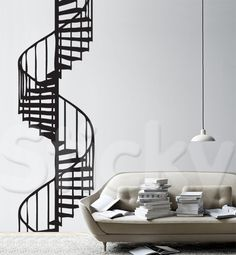 STAIRS SPIRAL Interior Architecture, Interior Design, Wall Sticker, Spiral, Stairs, Guest Rooms, City Life, House, Stickers