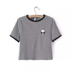 Harajuku Grunge Cropped Alien Shirt