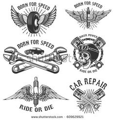 Set of car repair and racing emblems. Spark plug with wings, racer skull, pistons and wheel. Design elements for logo, label, badge. Vector illustration