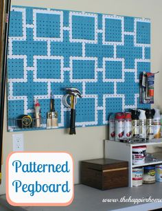 might as well make the garage organization look cute! Easy patterned pegboard tutorial