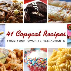 41 Copycat Recipes from Your Favorite Restaurants. Including Starbucks drinks, Arby's seasoned curly fires etc yuummmmm