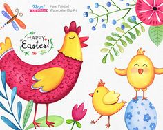 Easter Watercolor Clip Art, Easter Chicken, Easter Egg, Chick, Spring Flowers Leafs, Painted Cute Elements, Digital Clipart, DIY Baby Shower by NopiArtStudio on Etsy