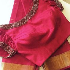 Find and explore top 15 latest saree blouse designs 2020 model trending on internet. View more latest blouse back neck design pattern. Saree Blouse Neck Designs, Simple Blouse Designs, Stylish Blouse Design, Bridal Blouse Designs, Latest Blouse Neck Designs, Pattern Blouses For Sarees, Designer Saree Blouses, Blouse Neck Models, Boat Neck Saree Blouse