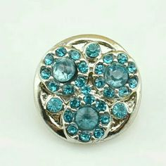 Blue Rhinestone Chunk Snap Button Charm NWOT 4 for $12~Add your favorites to a bundle and I will create a listing Jewelry
