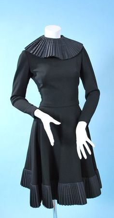Vintage 1970s Geoffrey Beene Swing Skirt Party Dress with Silk Box Pleat Collar