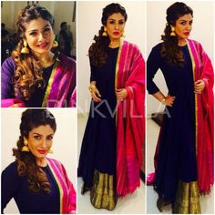 On the occasion of Sharad Purnima, Raveena Tandon was guest of honour for a Dandiya event in Jamnagar. She picked a midnight blue floor length anar. Pakistani Outfits, Indian Outfits, Ethnic Trends, Ethenic Wear, Indian Gowns Dresses, Bollywood Fashion, Bollywood Style, Anarkali Dress, Kurta Designs