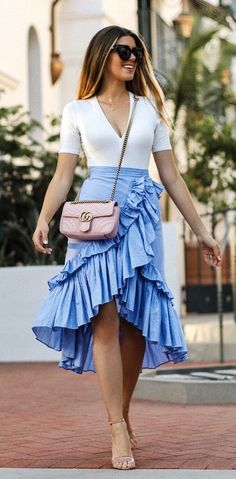 #fall #outfits  women's white v-neck elbow-sleeved top, blue flared skirt and pair of nude-color open-toe ankle-strap heeled sandals outfit #anklestrapsheels2017