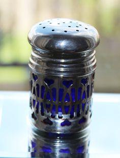 Silver Coloured Salt Cellar with Cobalt Blue Glass Liner & Hearts Design Pattern (c1910s) by GillardAndMay on Etsy