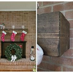 marcythornicroft added a photo of their purchase Floating Fireplace, Wood Fireplace Mantel, Wood Mantels, Wood Mantel Shelf, Rustic Wood, Wood Grain, Beams, Ladder Decor, Shelves