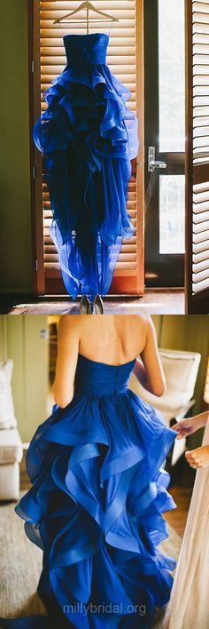 A-line Blue Prom Dresses,Strapless Formal Party Gowns,Organza Long Evening Dress, Cascading Ruffles Women Dress