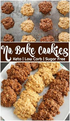 Keto No Bake Cookies in 5 Minutes! Be sure to click the photo for the full recipe! Easy keto no bake cookies dessert will be ready in 5 minutes! Make them 2 ways: chocolate, peanut butter, or both! These tasty… Continue Reading → Dessert Simple, Keto Dessert Easy, Healthy Dessert Recipes, Keto Snacks, Healthy Baking, Healthy Food, Baking For Diabetics, Keto Foods, Foods To Eat