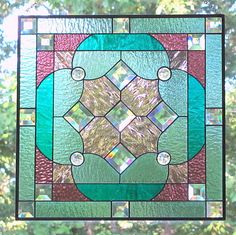 Sea Green Teal Purple Stained Glass Beveled Hanging Panel