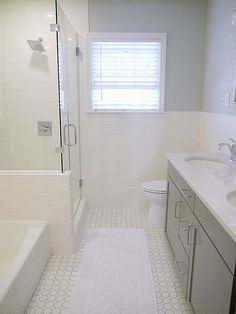 Bathroom Remodeling Home Depot merola tile metro hex glossy white with black dot 10-1/4 in. x 11