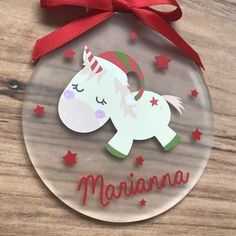 Christmas Unicorn • Childrens Personalised Christmas Ornament Decoration • Magical by DesignsByDanielleUK on Etsy https://www.etsy.com/uk/listing/567031547/christmas-unicorn-childrens-personalised