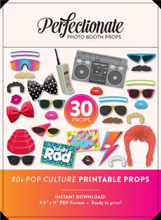 DIY 80s Photo Booth Props | 30 Printable 80s Props | Instant Download | 80s Photo-Booth Clipart by Perfectionate on Etsy https://www.etsy.com/uk/listing/243927236/diy-80s-photo-booth-props-30-printable
