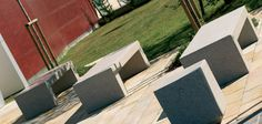 Monolithic bench made entirely out of reconstituted marblestone/granite.