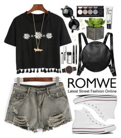 """""""Romwe"""" by oshint ❤ liked on Polyvore featuring Converse, Monki, Bobbi Brown Cosmetics, Witchery, Marc Jacobs, Forever 21 and Alex Monroe"""