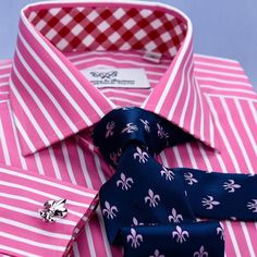 Red Pink Striped Formal Business Dress Shirt Wrinkle Free Plaids & Checks French in Double Cuffs - Shirts Business Shirts, Business Dresses, Formal Shirts For Men, Men Dress, Shirt Dress, Cutaway Collar, Create Shirts, Business Fashion, Designer Wear