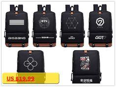 Kpop home Bts Got7 Exo Twice Monsta x infinite Fashion nylon Schoolbag Backpack Satchel bag