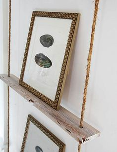 cool idea for displaying pictures -- rope & reclaimed wood