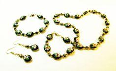 Black Cloissone' Jewelry Set by kiddercreations on Etsy, $32.00