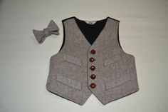 Boys Vest wool brown tweed 100 cotton lined by amytopstitching,.00
