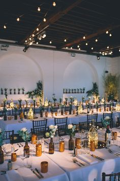 Table Setting with Brown Bottles & Gold Spray Painted Jars