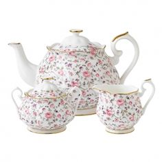 Royal Albert Rose Confetti Teapot/ Sugar/ Creamer Set    Youthful and exuberant, this beautiful 3-Piece Tea Set includes a teapot, covered sugar bowl and creamer, all rendered in fine bone china and combining classic form with intricate detailing, vibrant colours and a lustrous gold rim.    I love this sweet pattern too.