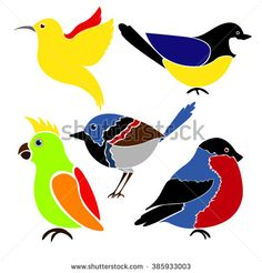 Different birds isolated on white background. Hummingbird, colibri,  titmouse, bullfinch, parrot.