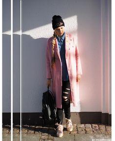 grunge winter look with coat