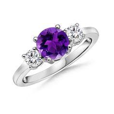 Amethyst Engagement Ring, Three Stone Amethyst Ring