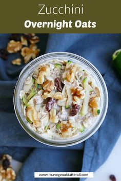 These veggie-loaded overnight oats are a healthy breakfast option to make in advance! This recipe tastes just like zucchini bread but has only five minutes of prep time. #healthybreakfast #overnightoats
