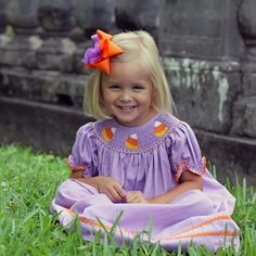 Smocked Candy Corn Bishop Dress from Smocked Auctions