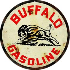 """Create a Unique Vintage Garage Look with our Products. This is a reproduction of a vintage """" Buffalo Gasoline """" Advertising Metal Sign. Vintage Metal Signs, Vintage Tools, Vintage Style, Vintage Industrial Decor, Industrial Office, Industrial Interiors, Industrial Lighting, Modern Industrial, Industrial Design"""