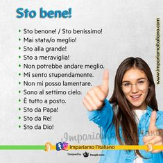 """""""Mi piace"""": 2.255, commenti: 33 - Learning Italian online (@impariamoitaliano) su Instagram: """"STO BENE! Smettila di dire """"sto bene"""" ;) Sto benone! Sto benissimo! Mai stata/o meglio! Sto alla…"""" Italian Grammar, Italian Vocabulary, Italian Phrases, Italian Words, Italian Language, Learning Italian, Good Life Quotes, Study, Education"""